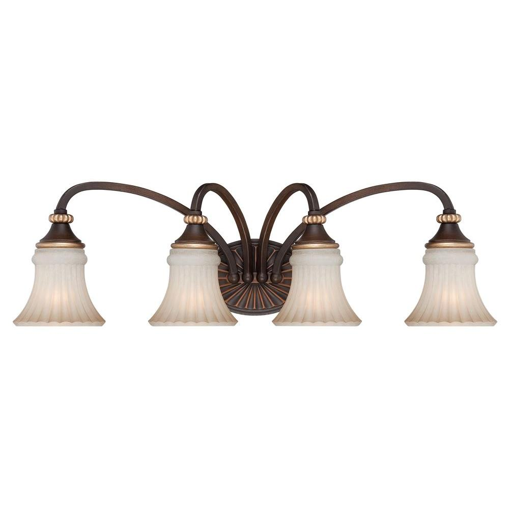 hight resolution of hampton bay reims 4 light berre walnut vanity light with toned driftwood glass shades