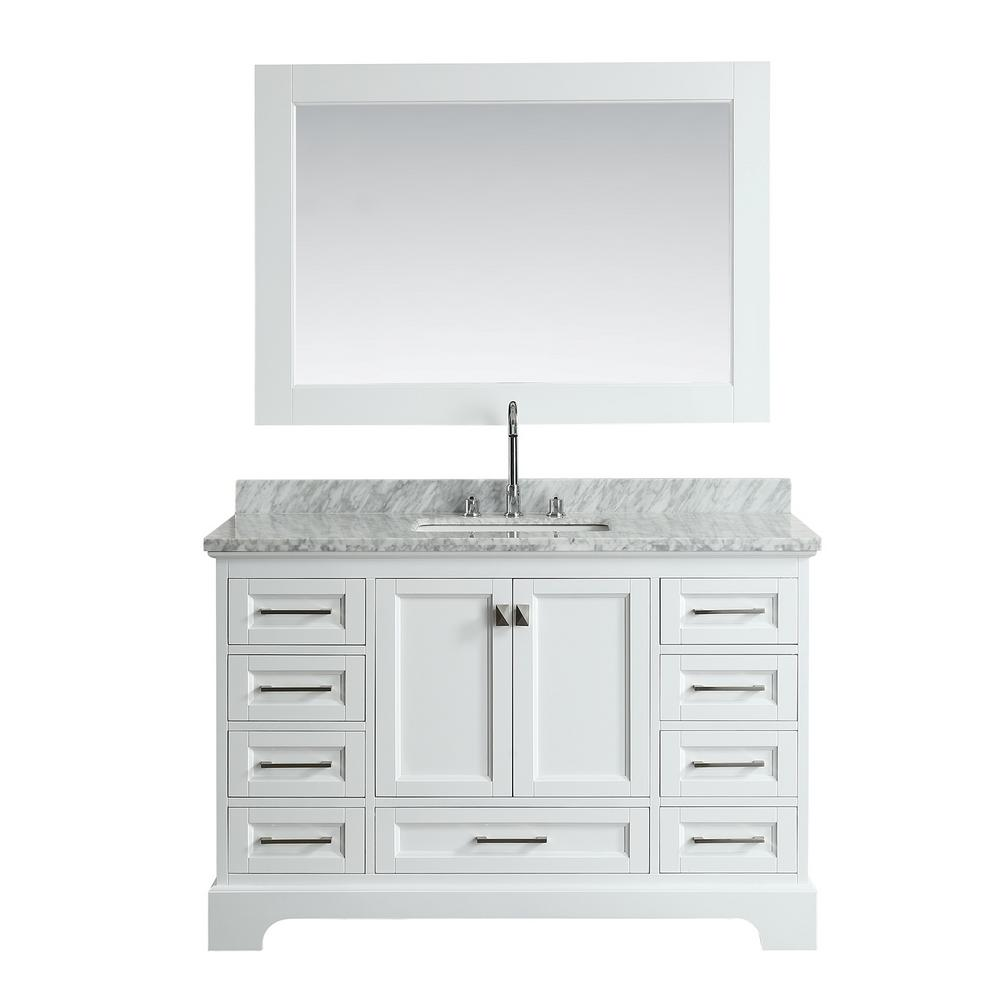 54 Bathroom Vanity Design Element Omega 54 In W X 22 In D Vanity In White With Marble Vanity Top In White With White Basin And Mirror