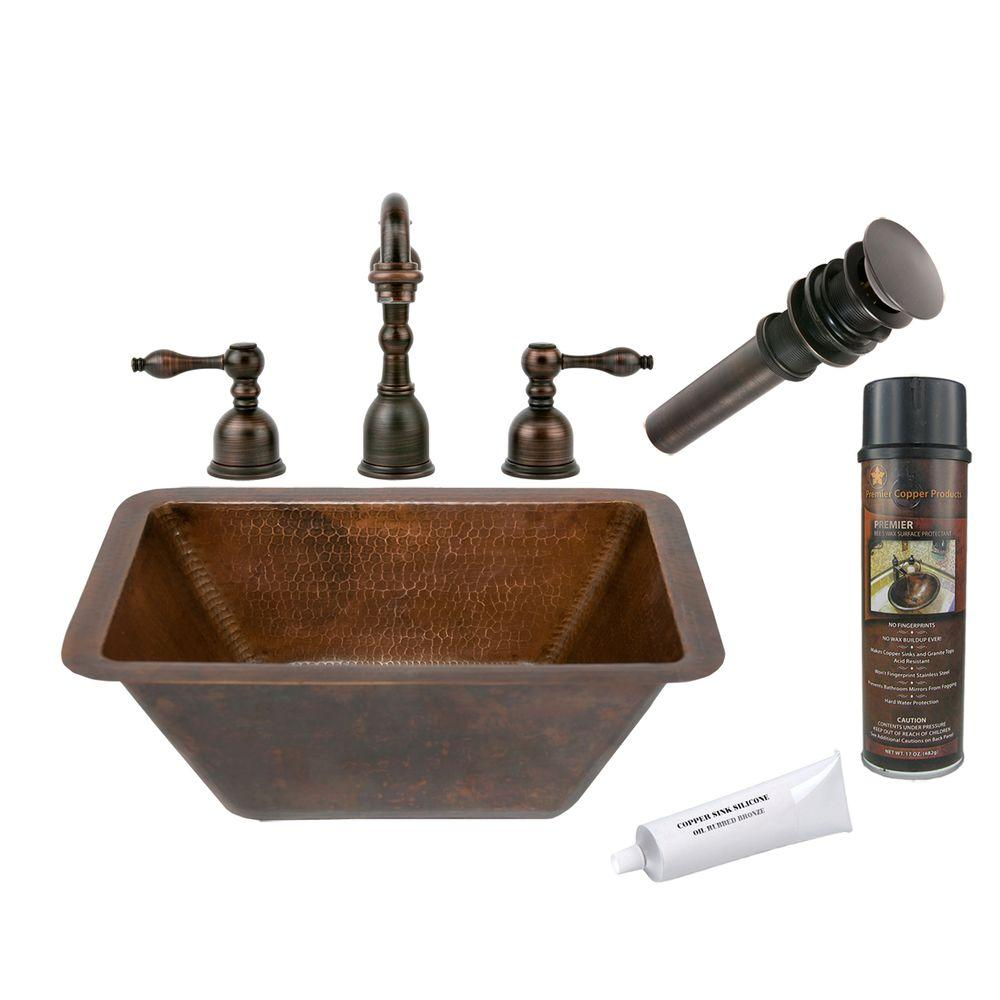 Small Rectangular Bathroom Sink Premier Copper Products All In One Small Rectangle Under Counter Hammered Copper Bathroom Sink In Oil Rubbed Bronze