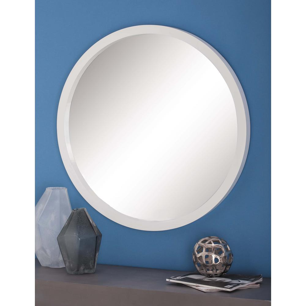 modern living room track lighting warm paint colours for rooms 32 in. round framed wall mirror in white-60157 ...