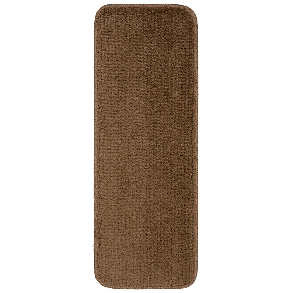 Ottomanson Comfort Collection Brown 9 In X 26 In Rubber Back   Plush Carpet Stair Treads   Dog Cat Pet   Iron Frost   Carpet Runners   True Bullnose Carpet   Bullnose