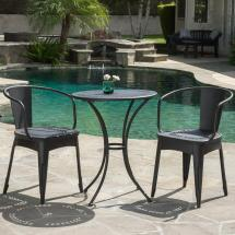 Noble House Lourdes Black Sand 3-piece Metal Outdoor