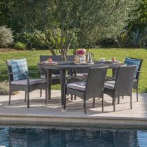 Noble House Kyle Grey 7-piece Wicker Outdoor Dining Set