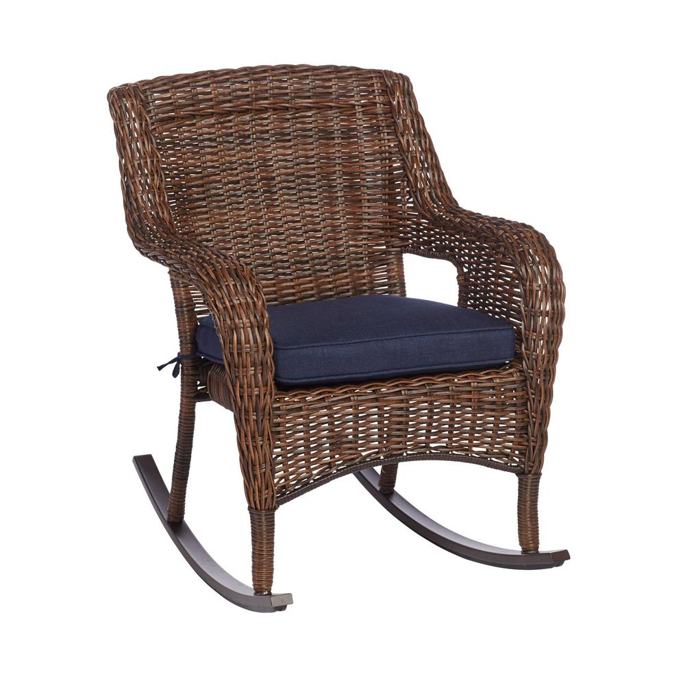 Wicker Rocking Chair Hampton Bay Cambridge Brown Wicker Outdoor Rocking Chair With Blue Cushions