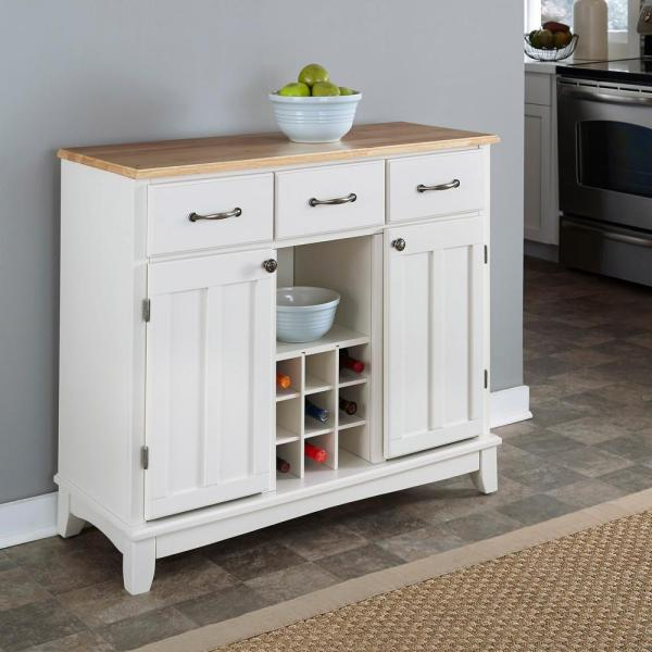 white buffet table with wine rack