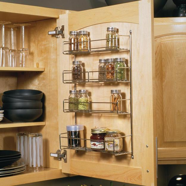 knape & vogt 20 in. x 10.81 in. x 3.88 in. door mounted spice rack