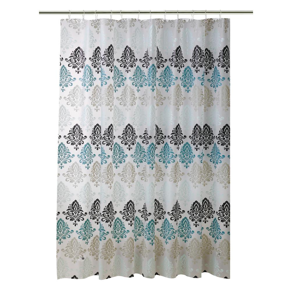 bath bliss peva 70 in x 72 in green taupe and black paisley design shower curtain 5387 the home depot