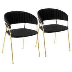 Black Velvet Chair Hanging Kit Lumisource Tania Gold With Arm Set Of 2 Ch