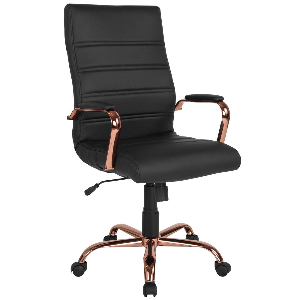black leather desk chairs plus size camping chair flash furniture rose gold frame office cga