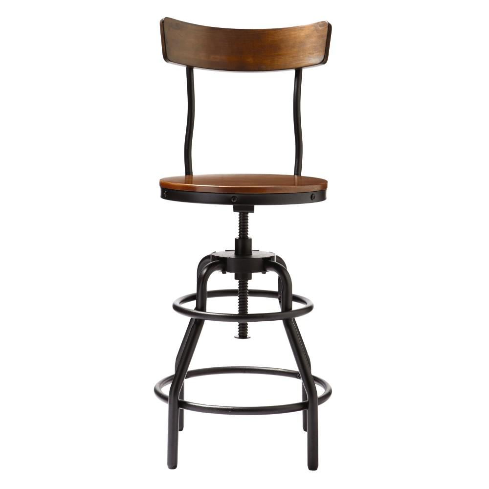 chair stool black rocking plans maloof home decorators collection industrial mansard adjustable height bar with backrest 9964500210 the depot