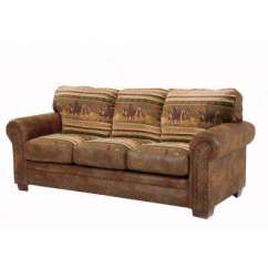 Leather Sleeper Sofa With Nailheads Contemporary Slipcover Faux Sofas Loveseats Living Room Furniture Wild Horses Brown Microfiber And Tapestry Pattern Nail Head Accents