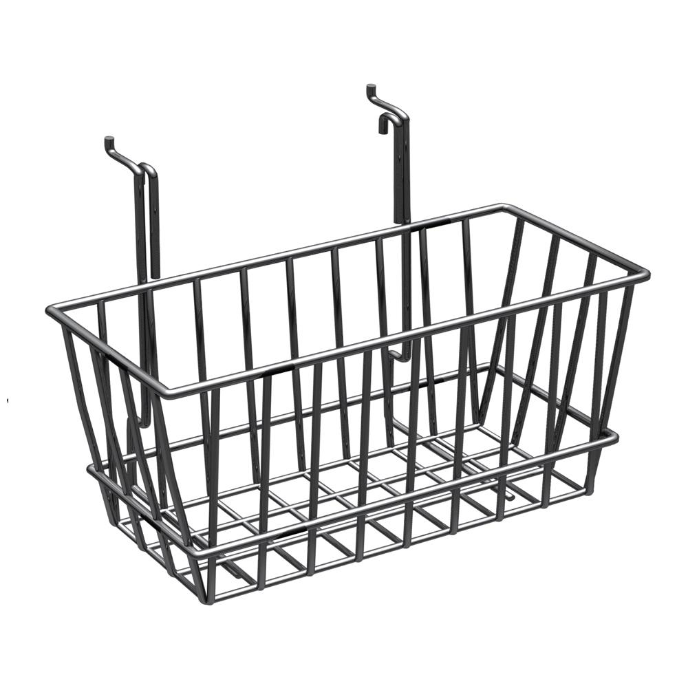 Azar Displays 6 in. H x 12 in. W Small Chrome Wire Basket