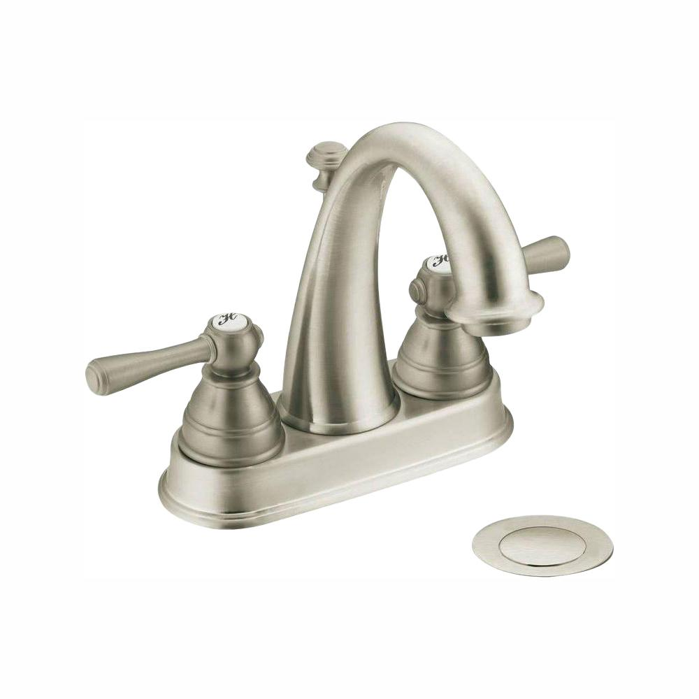 Moen Kingsley Bathroom Faucet Moen Kingsley 4 In Centerset 2 Handle High Arc Bathroom Faucet In Brushed Nickel With Drain Assembly