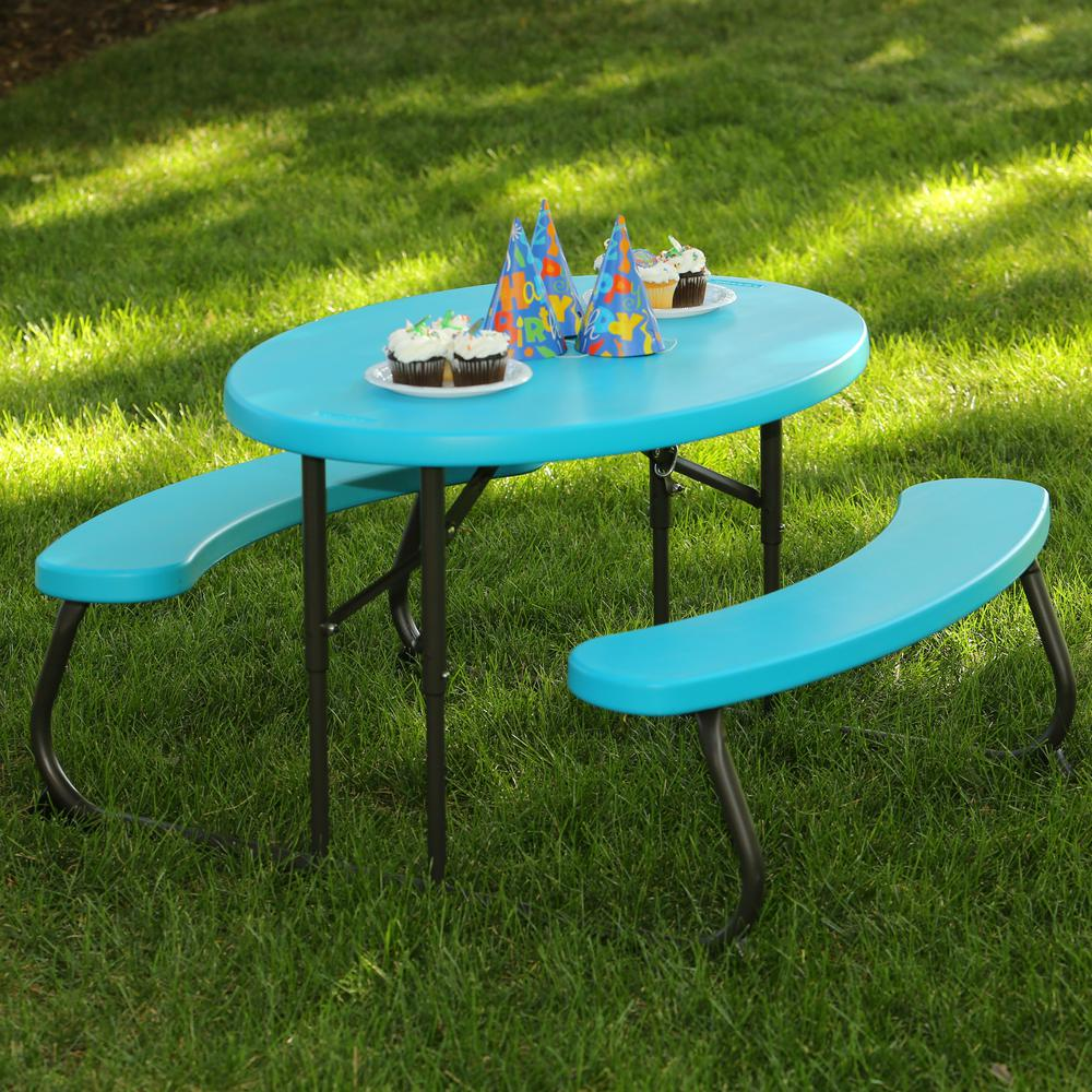 childrens fold up table and chairs dining chair styles names lifetime oval 1 piece glacier blue kids picnic folding 60229