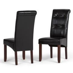 Black Parsons Chair La Z Boy Lift Controller Simpli Home Cosmopolitan Midnight Faux Leather Dining Set Of 2