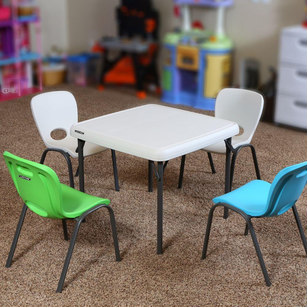 Childrens Folding Table And Chairs Lifetime 5 Piece Lime Green And Almond Children S Table And Chair