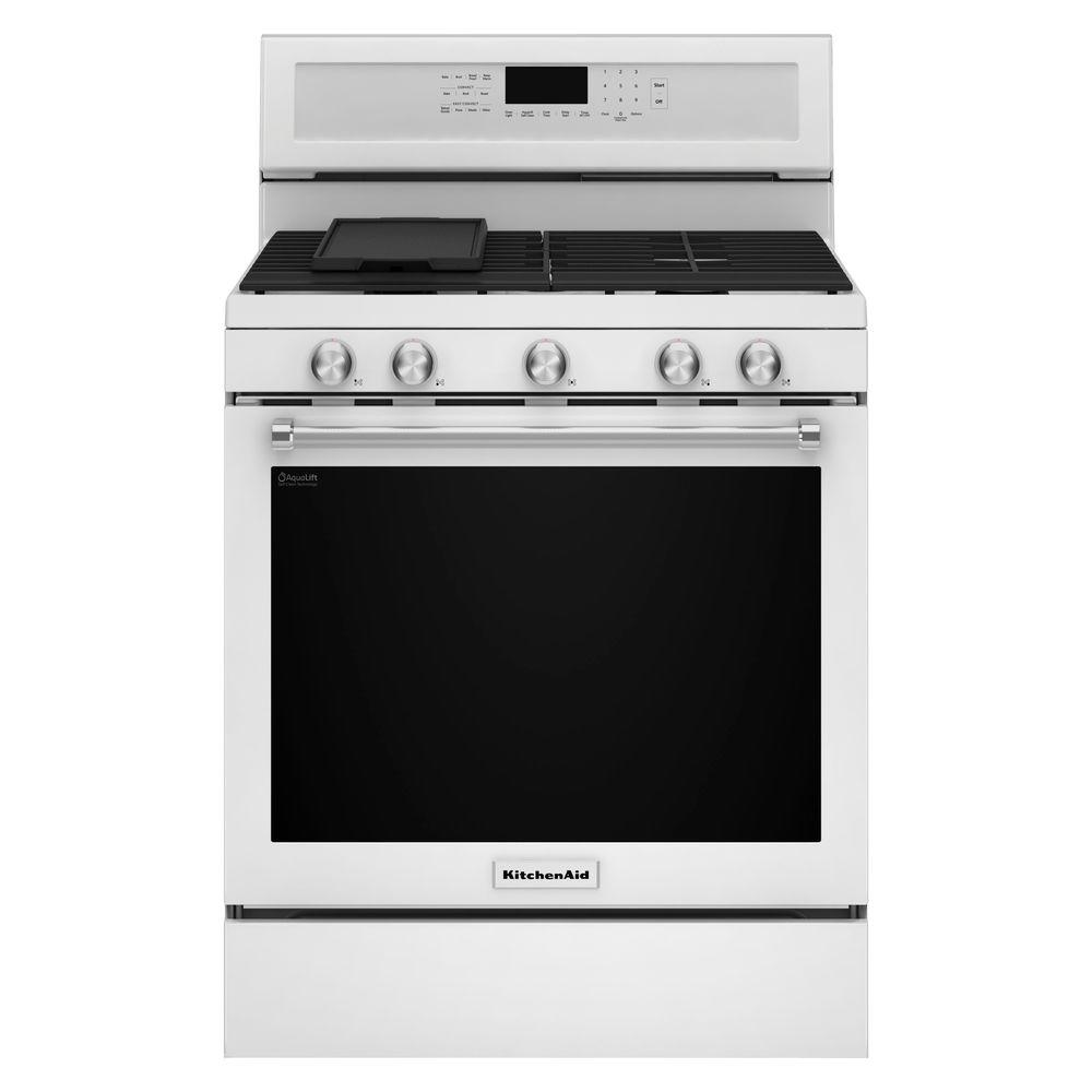 kitchen aid gas stove recycled countertops kitchenaid 5 8 cu ft range with self cleaning oven in white