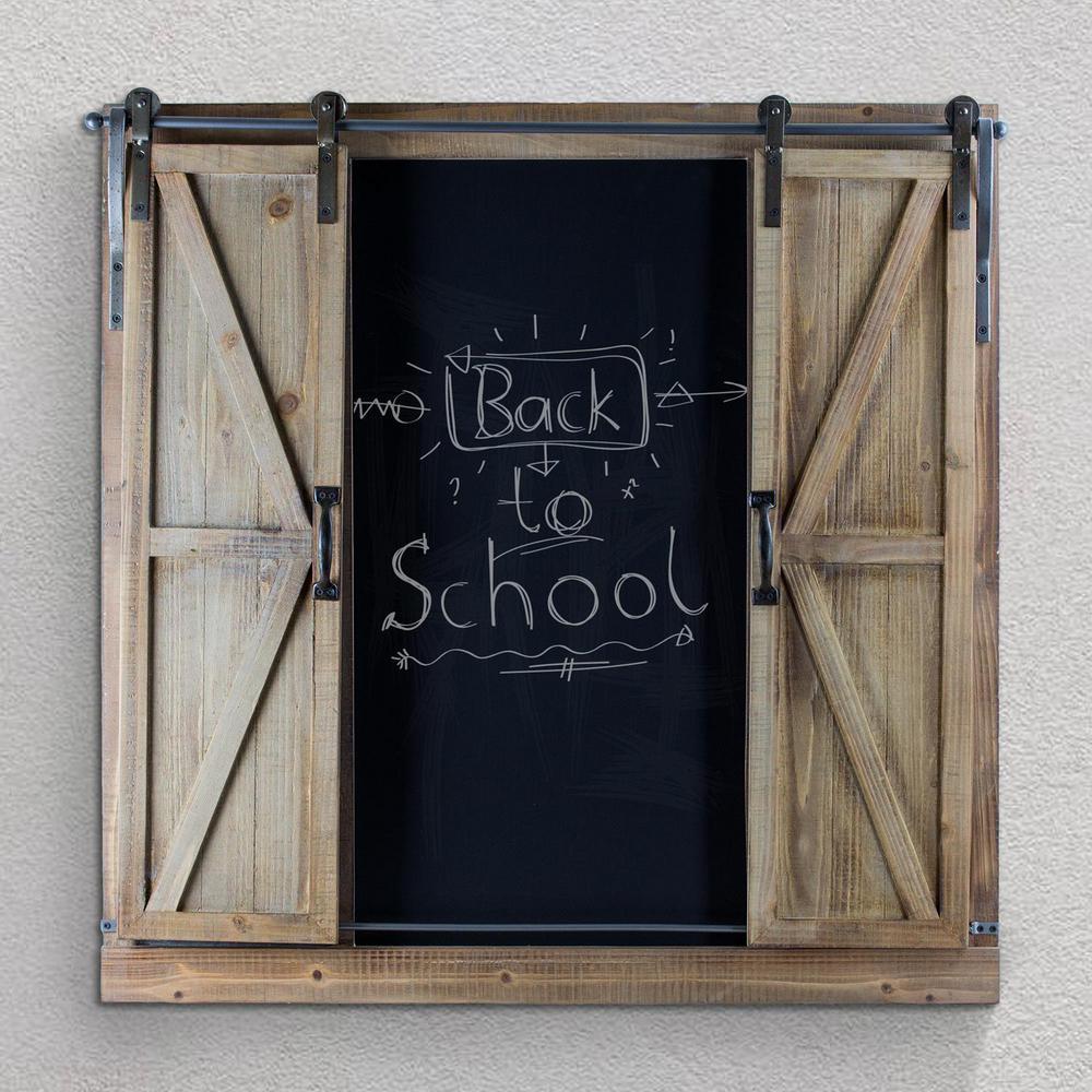 wood metal chalkboard message