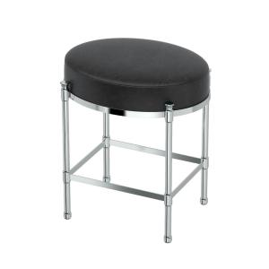 Gatco Oval Black Vanity Stool in Chrome1348  The Home Depot