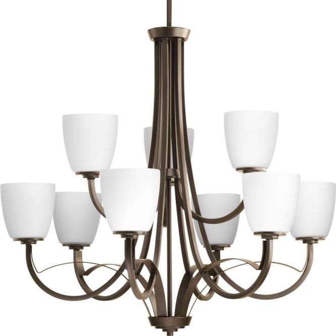 Progress Lighting Merge Collection 9 Light Antique Bronze Chandelier With Opal Glass Shade