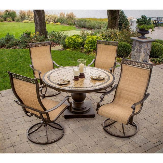 hanover monaco 5-piece patio outdoor dining set-monaco5pcsw - the