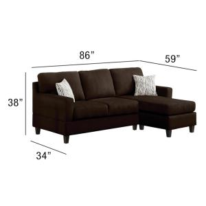 acme sectional sofa chocolate corner replacement cushion covers furniture vogue micro fiber 05907 5