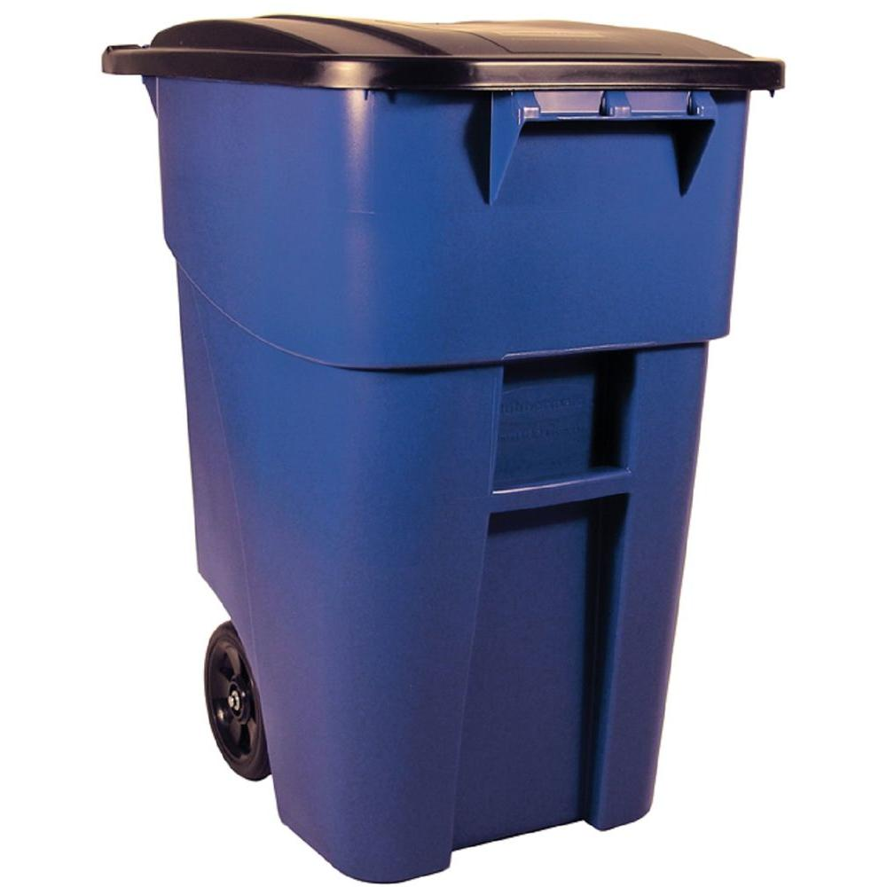 home depot kitchen trash cans water filter rubbermaid commercial products brute 50 gal. blue rollout ...