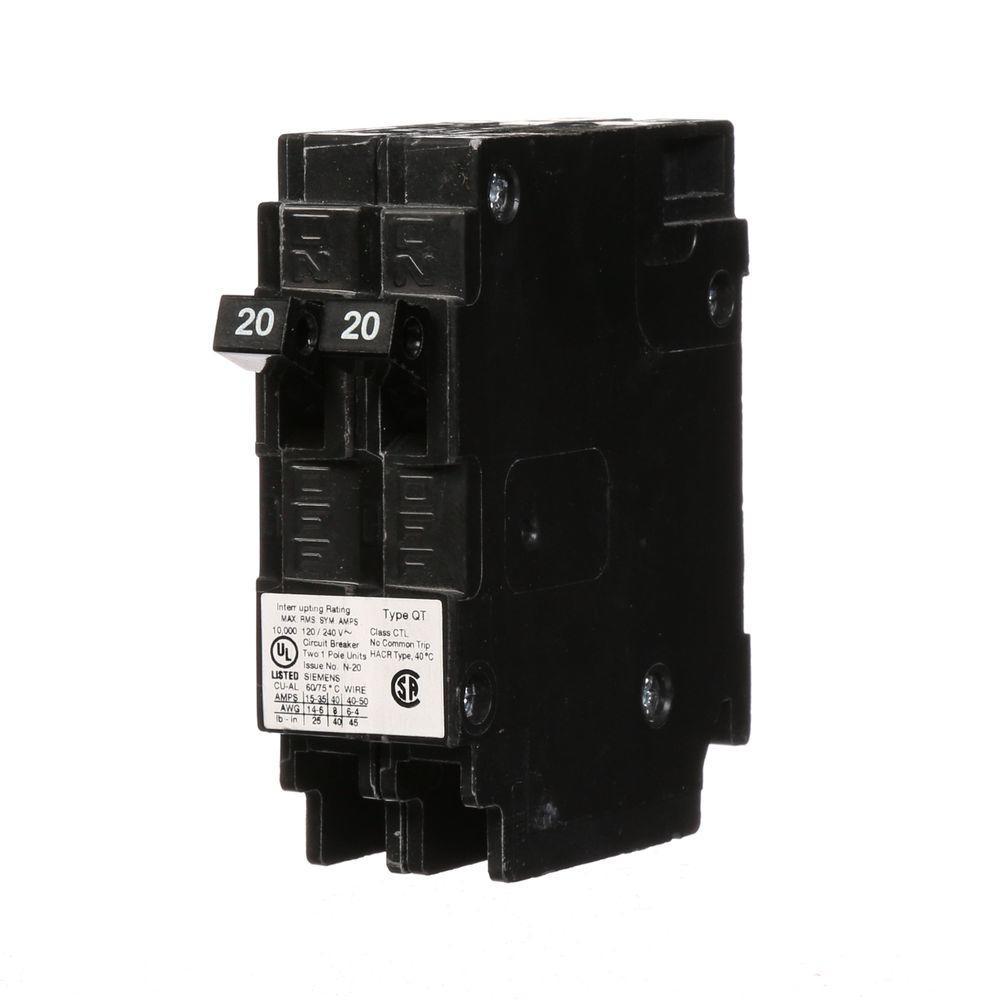 medium resolution of 20 amp tandem single pole type qt circuit breaker