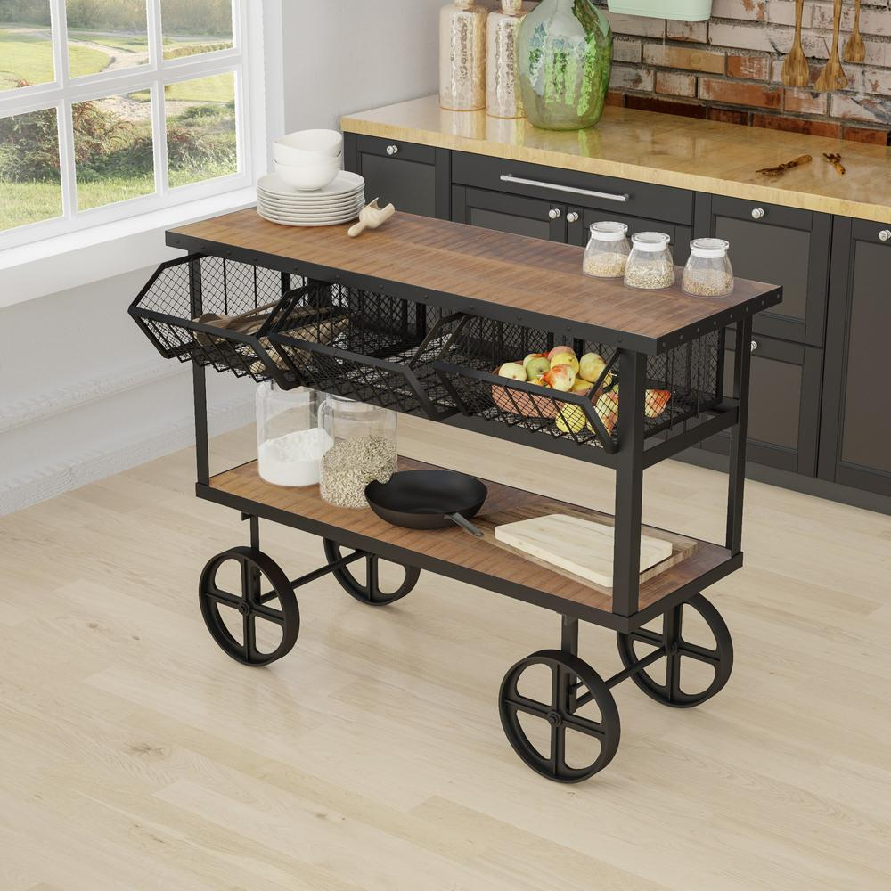 Yosemite Home Decor Mango Wood Kitchen Cart With Drawers
