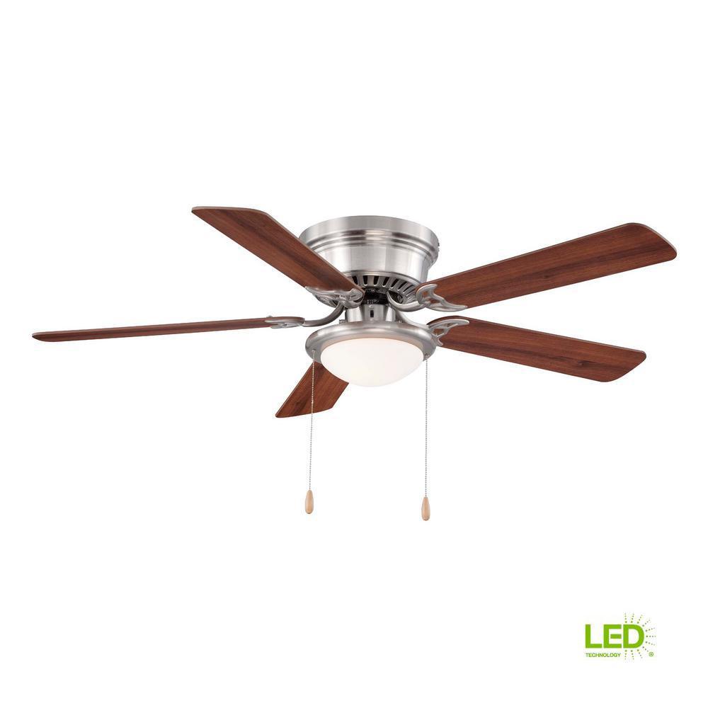 Hugger 52 in LED Indoor Brushed Nickel Ceiling Fan with Light KitAL383LEDBN  The Home Depot