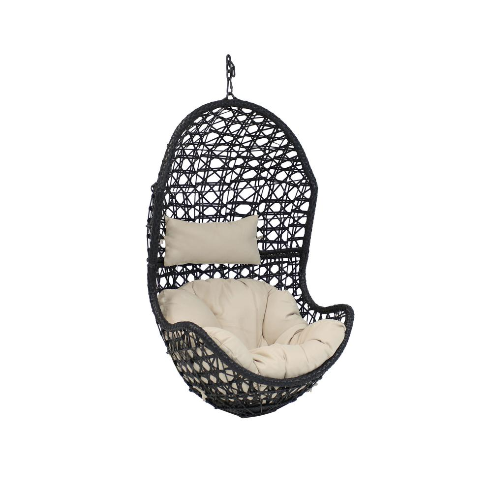 resin wicker lounge chairs wedding chair covers rental near me sunnydaze decor cordelia indoor outdoor hanging egg patio with beige cushions