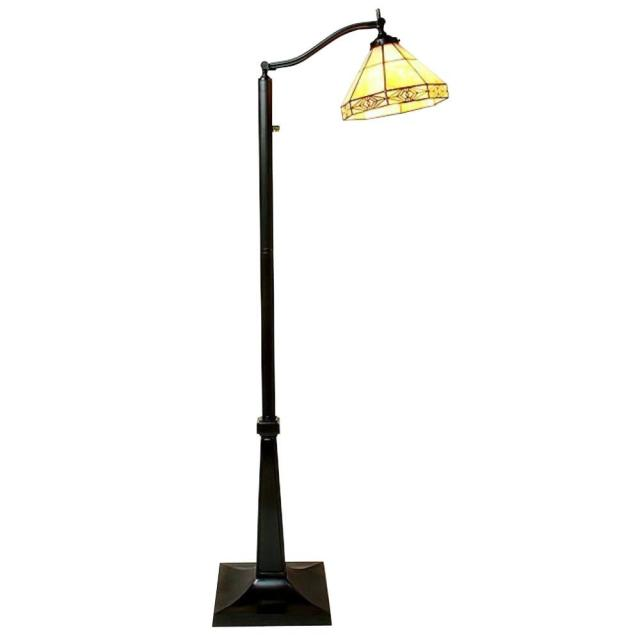 Mission White Reading Brown Floor Lamp With Foot Switch