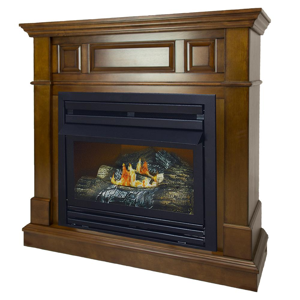 Pleasant Hearth 27500 BTU 42 in Convertible Ventless Natural Gas Fireplace in HeritageVFF