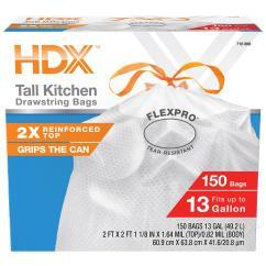 Kitchen Bags Materials Hdx 13 Gal Flexpro Reinforced Top Drawstring 150 Count