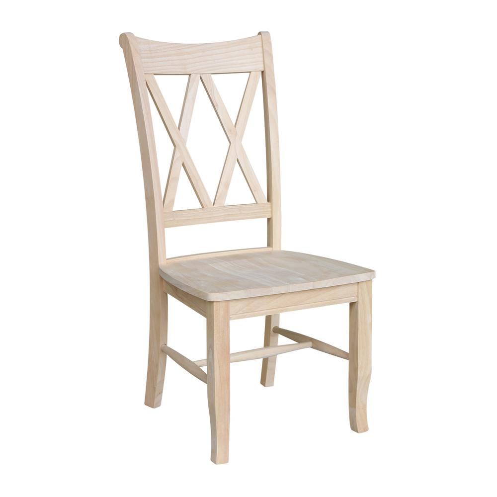 Kitchen Chairs Wood Unfinished Wood Double X Back Dining Chair Set Of 2