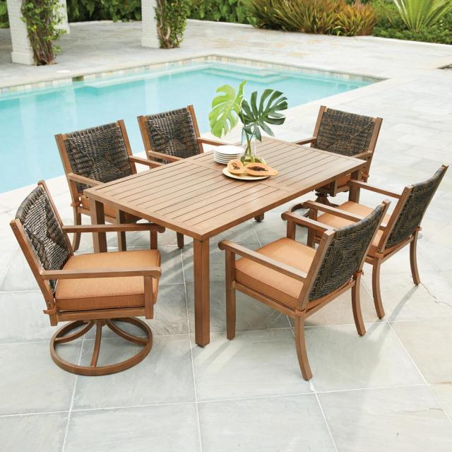 hampton bay kapolei 7-piece wicker outdoor dining set with reddish