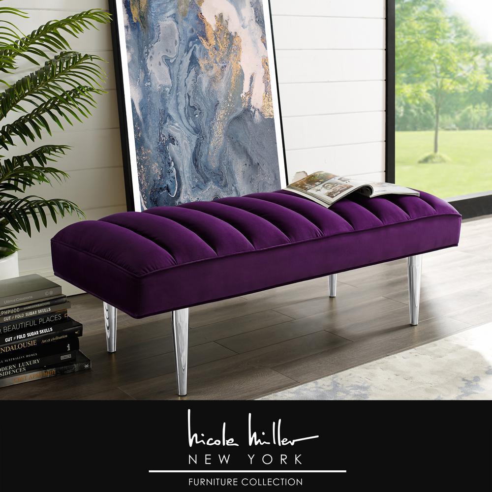 nicole miller denver purple chrome velvet bench with upholstered nbh107 02pl hd the home depot