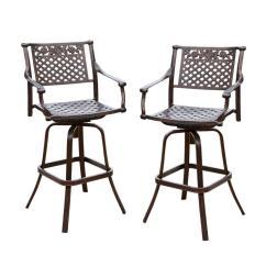 Outdoor Bar Chairs White Egg For Sale Stools Furniture The Home Depot Sebastian Swivel Aluminum Stool 2 Pack