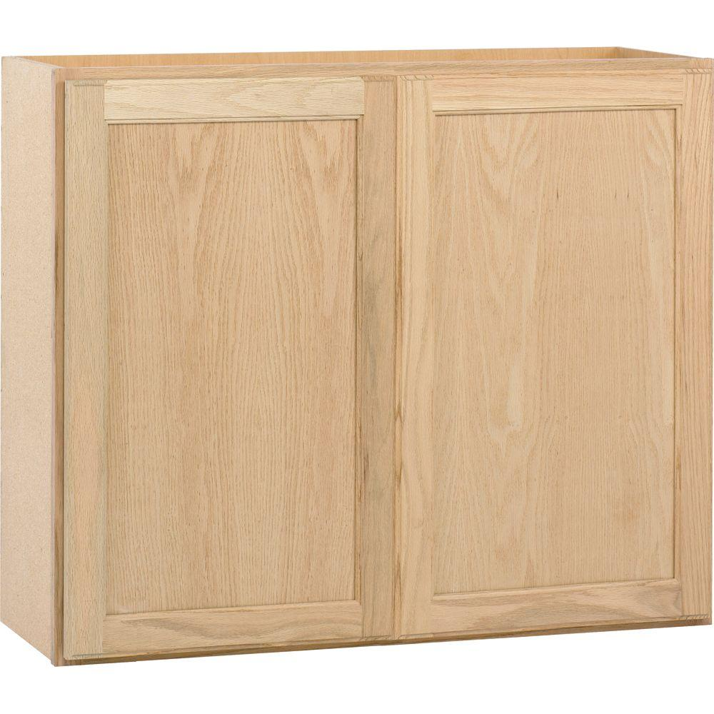painting kitchen cabinets home depot waffle weave towels assembled 36x30x12 in wall cabinet unfinished oak store sku 381127