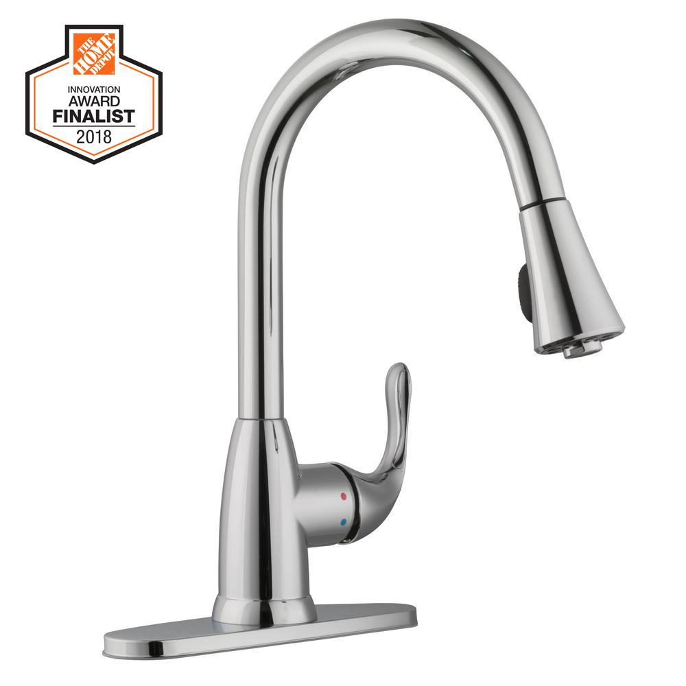 chrome kitchen faucet black pull handles cabinets glacier bay market single handle down sprayer in polished
