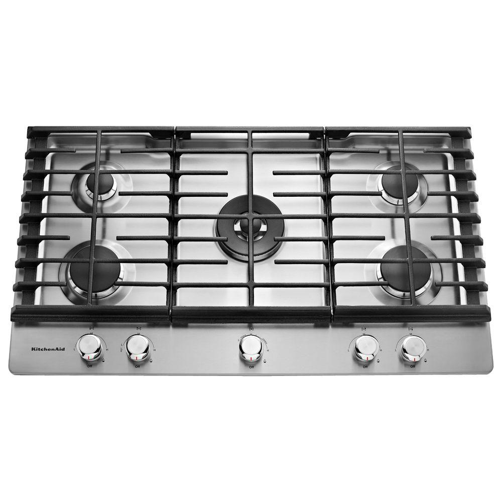 kitchen aid cooktop stainless steel tables kitchenaid 36 in gas with 5 burners including a professional dual tier burner and simmer