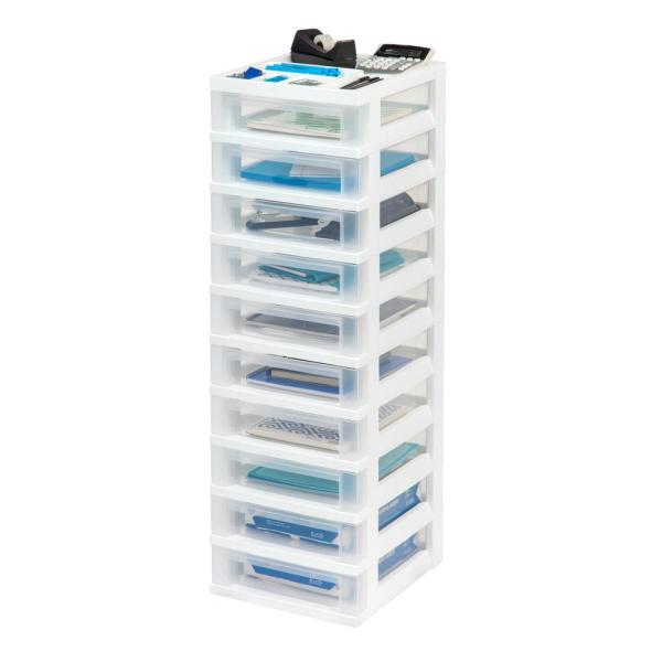 Iris 12.05 In. X 40 White 10-drawer Storage Cart With Organizer Top-585656 - Home Depot