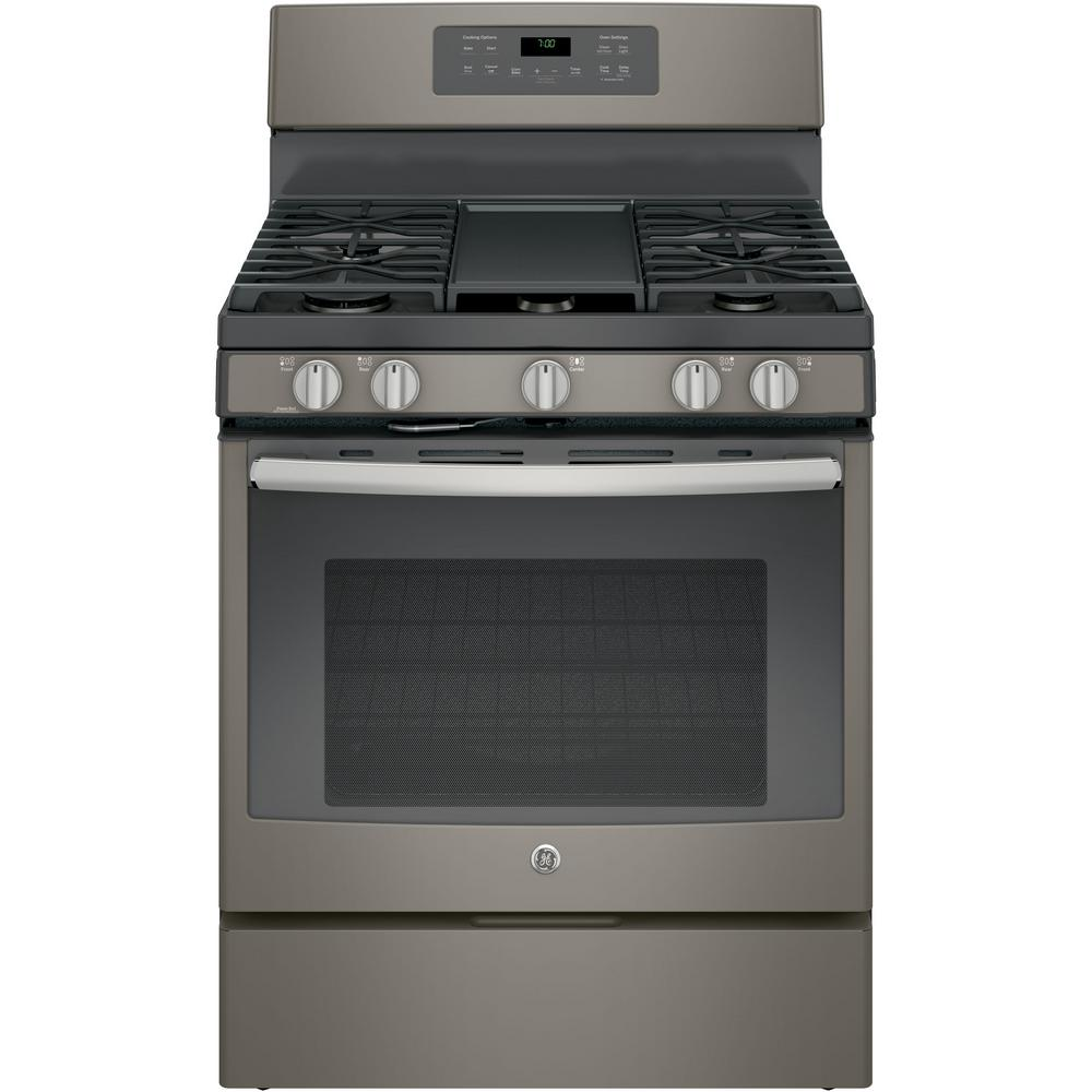 hight resolution of ge 5 0 cu ft gas range with self cleaning convection oven in slate fingerprint resistant