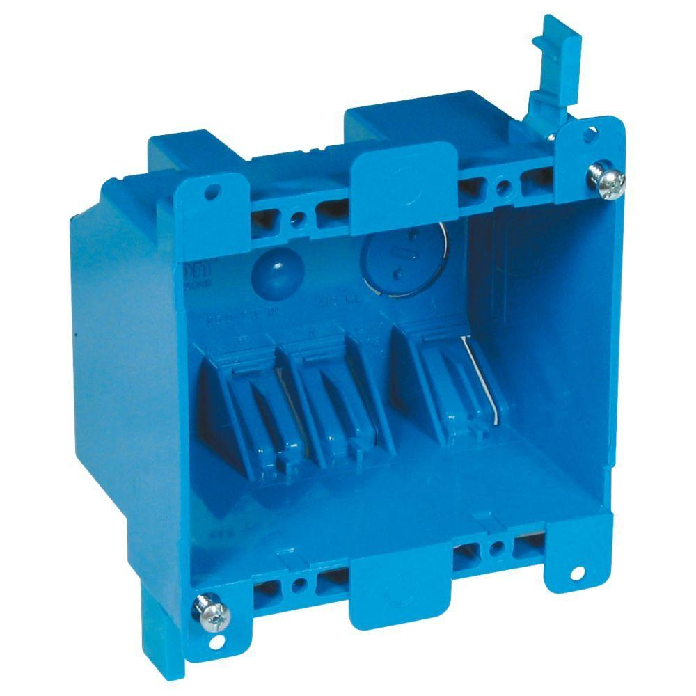 medium resolution of carlon 2 gang 25 cu in blue pvc old work switch and outlet box b225r upc the home depot