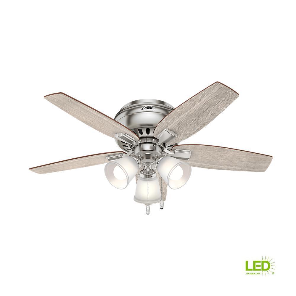 medium resolution of led indoor brushed nickel flush mount ceiling fan