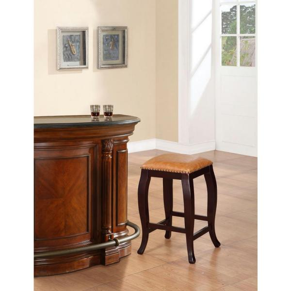 Linon Home Decor San Francisco 24 In. Brown Wenge Cushioned Bar Stool-178204car01 - Depot