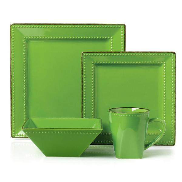 Lorren Home Trends 16-piece Green Square Beaded Stoneware