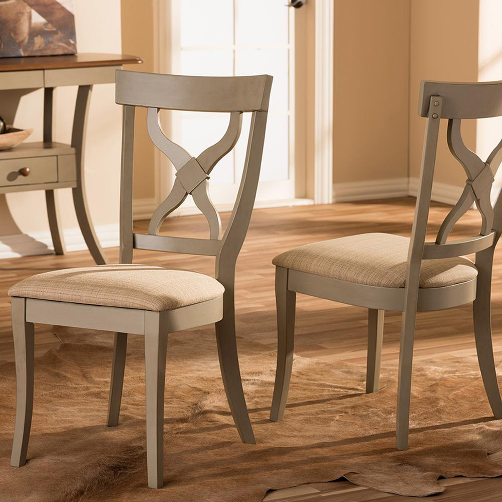 distressed dining chairs steel chair in madurai baxton studio balmoral beige fabric and gray wood set of 2