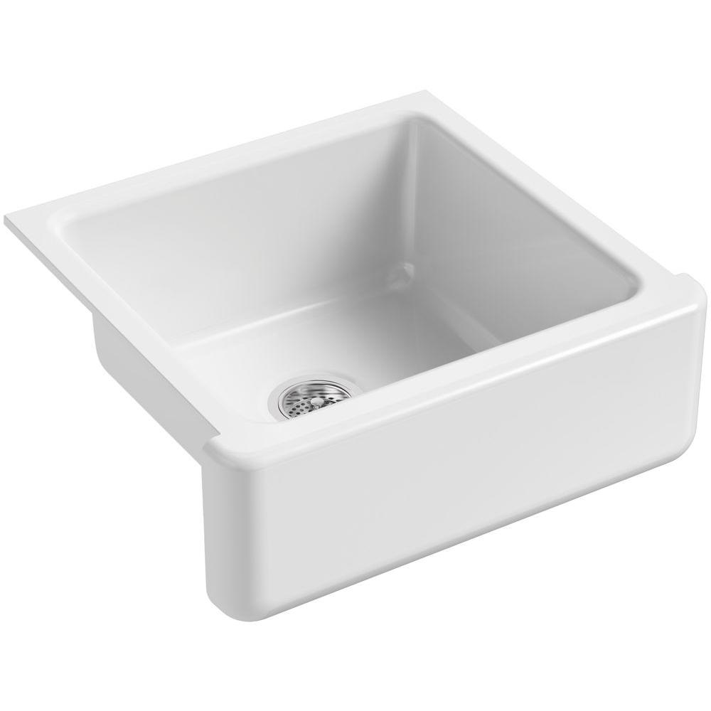 24 kitchen sink cabinet with glass doors kohler whitehaven farmhouse apron front cast iron in single bowl