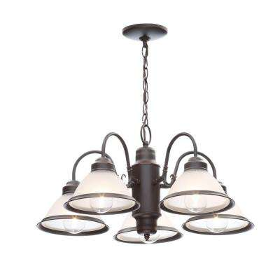 Halophane 5 Light Oil Rubbed Bronze Chandelier With Frosted Ribbed Glass Shades